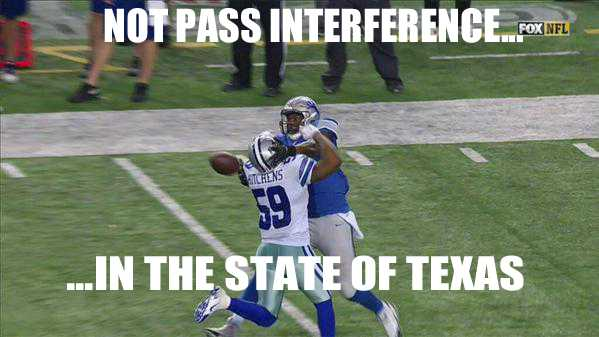 The infamous non pass interference call in the 2015 Wild Card game against the (Cowboys vs Lions)
