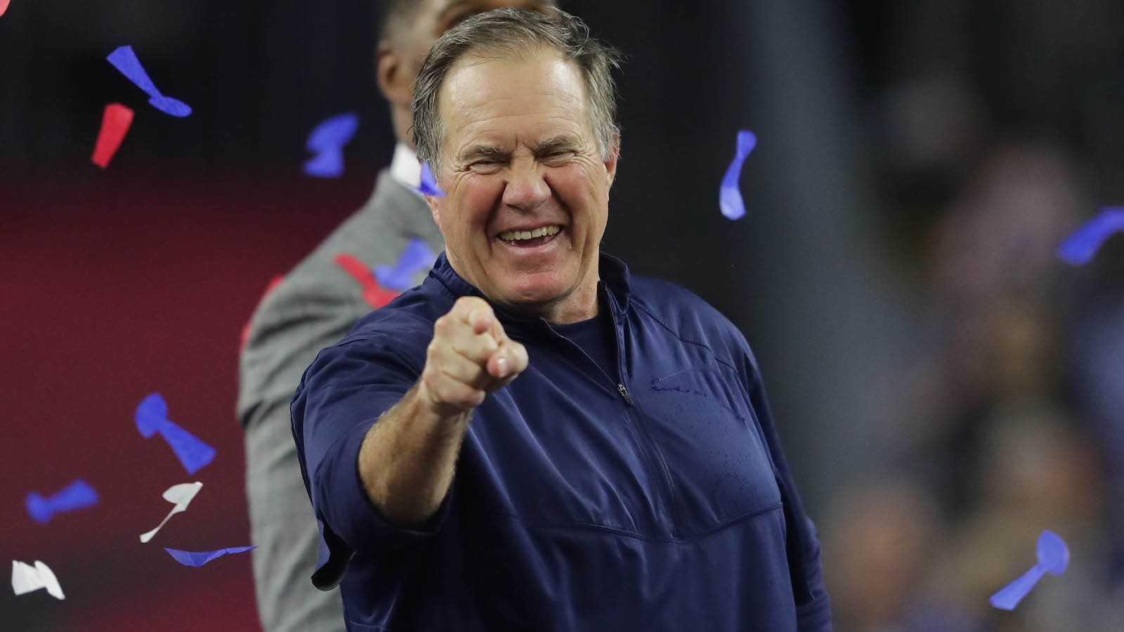 Bill Blichick after winning the Super Bowl