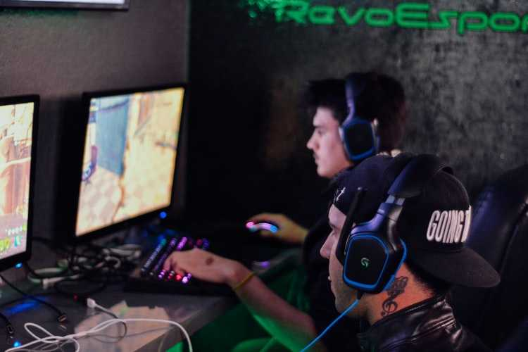 Two males playing esports