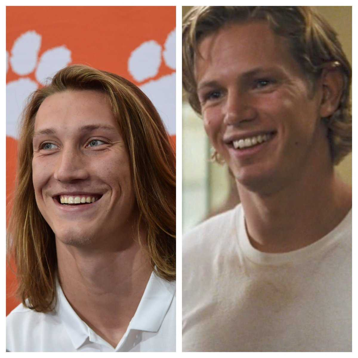 A split picture of Trevor Lawrence and Sunshine