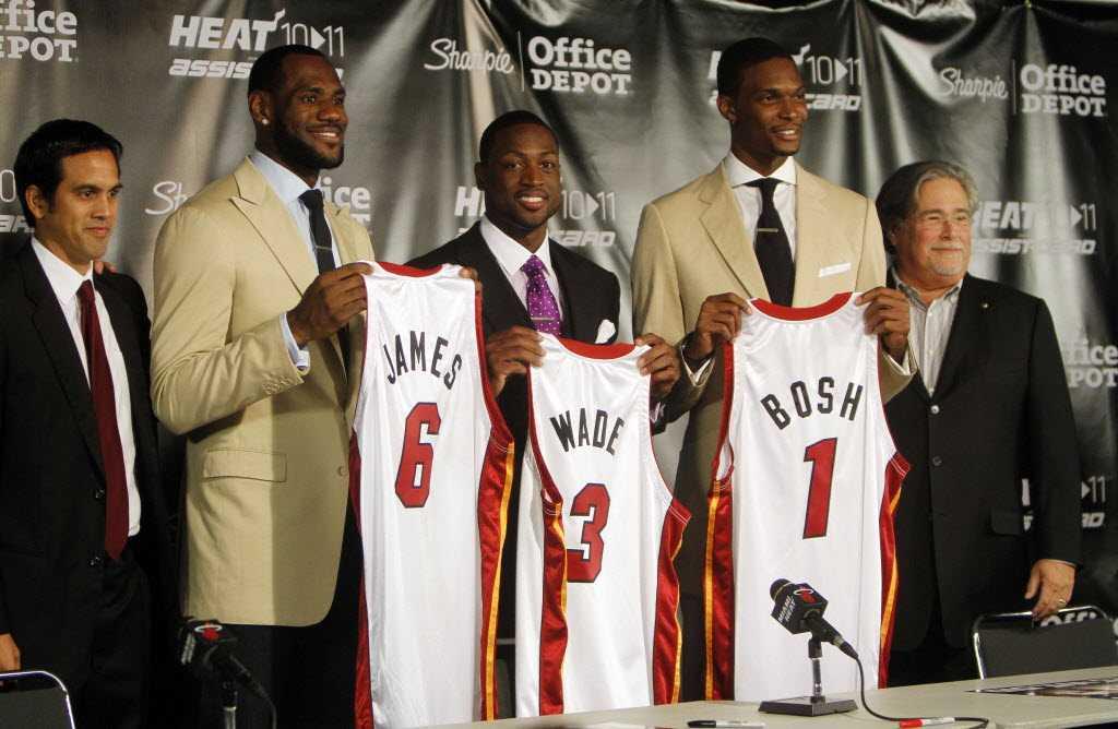 LeBron James, Dwanye Wade, and Chris Bosh at jersey reveal.