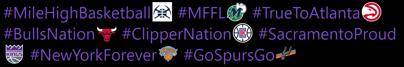 Official NBA Twitter Hashtags