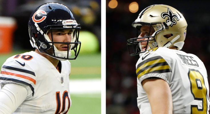 Mitchell Trubisky and Drew Brees side by side