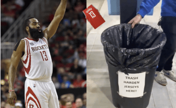 "James Harden shooting his jersey into a trash can with the words ""Trash Harden Jerseys Here!"" from iCarwash."
