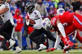 Lamar Jackson rushing against the Buffalo Bills