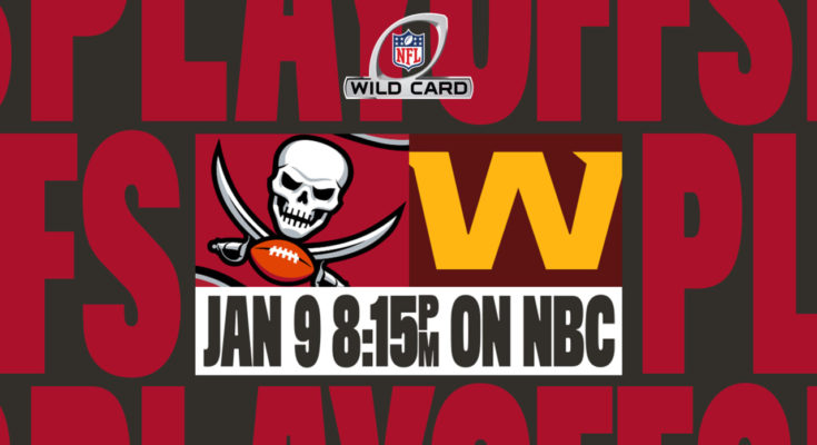 This image shows that the Washington Football Team will host the Tampa Bay Buccaneers at 8:15 on Saturday night.