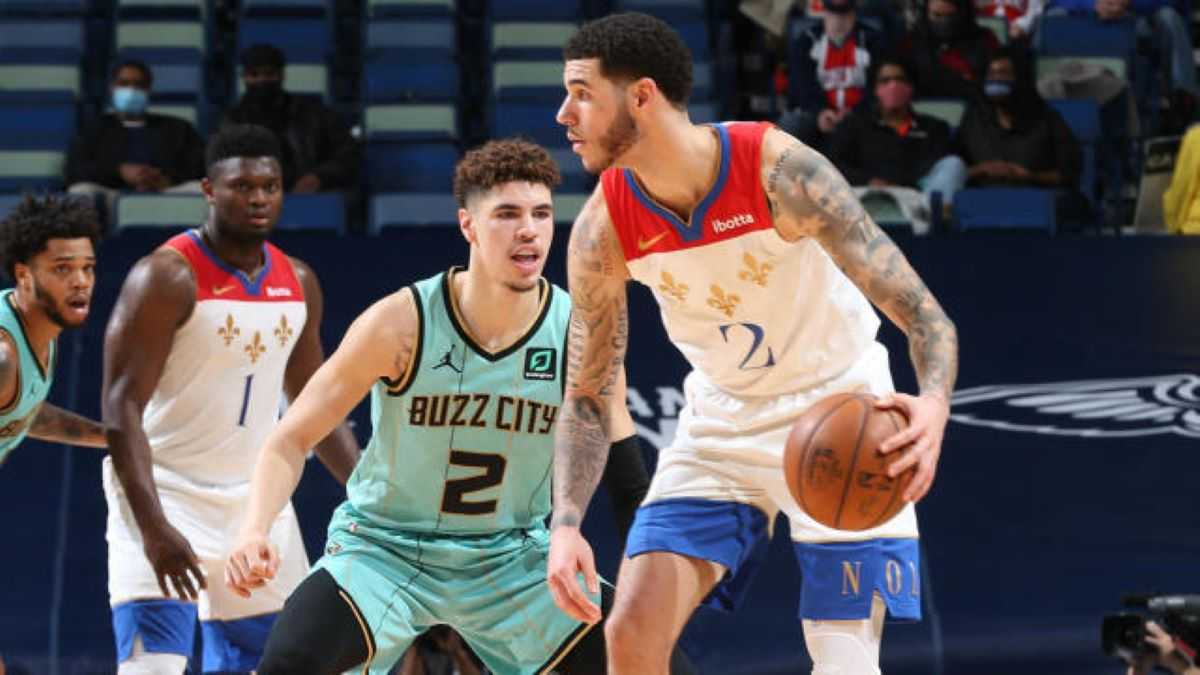 LaMelo guarding Lonzo during a recent matchup between the Hornets and Pelicans in New Orleans.