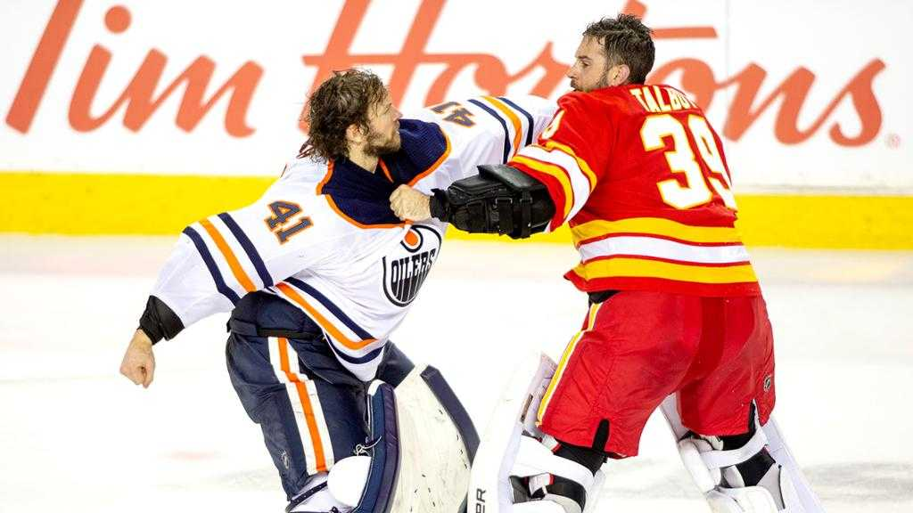 First ever goalie fight in the Battle of Alberta