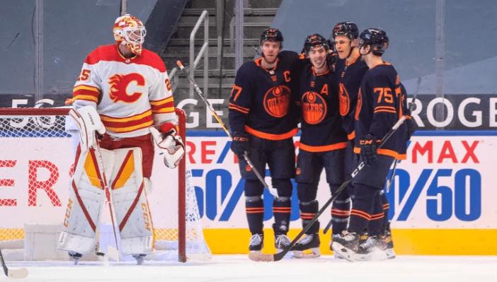 The Edmonton Oilers celebrate a goal.