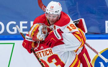 Calgary Flames Matthew Tkachuk and David Rittich