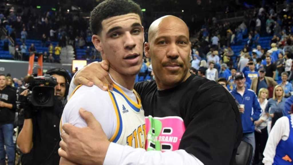LaVar and Lonzo Ball during Lonzo's collegiate days at UCLA.