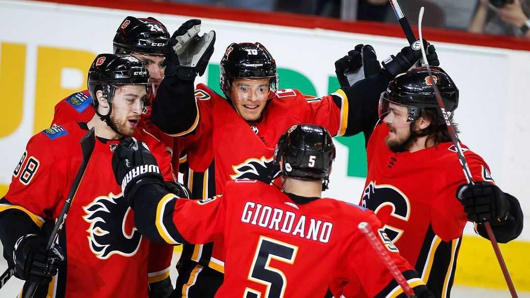 Calgary Flames celebrate a goal