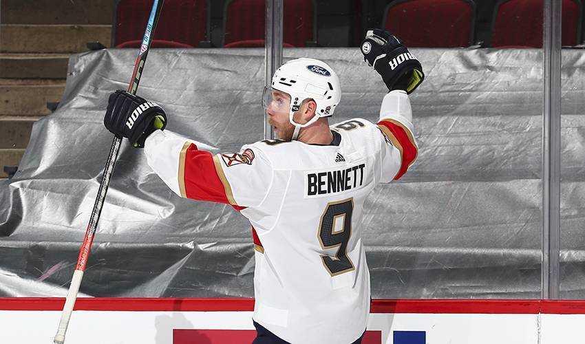 Sam Bennett celebrates a goal