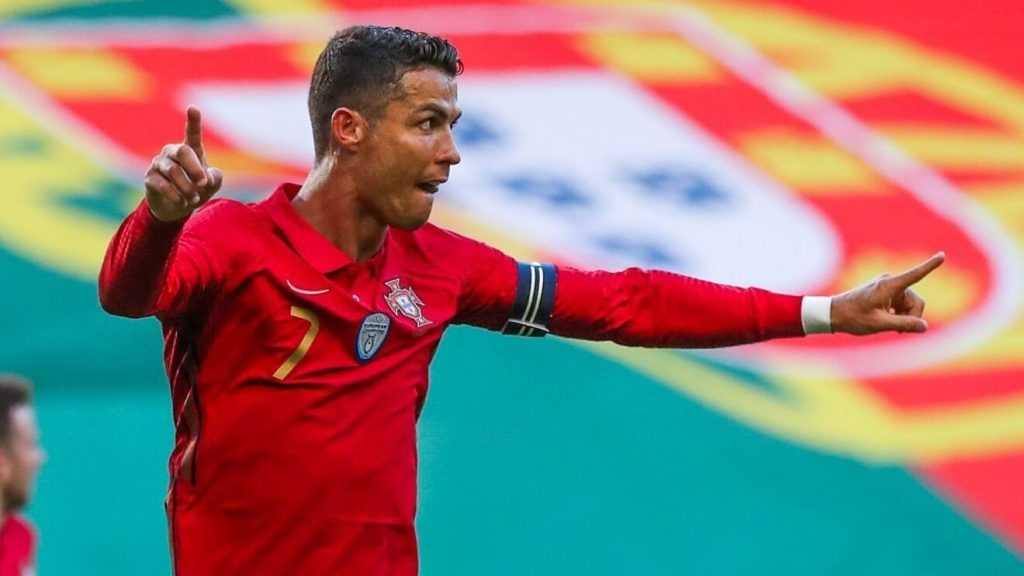 Cristiano Ronaldo celebrates for Portugal.