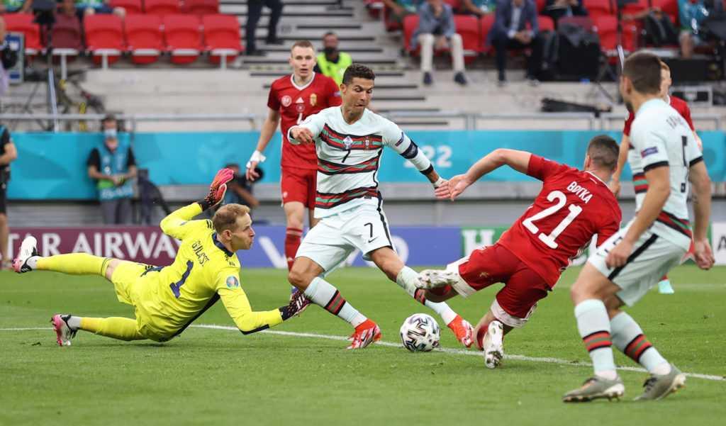 Cristiano Ronaldo scores his second goal against Hungary at Euro 2020.