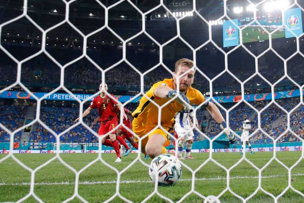 A goalkeeper fails to prevent the ball from crossing the line at Euro 2020.