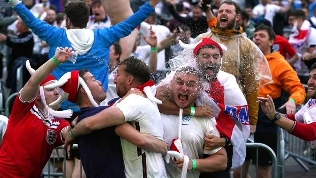 England fans celebrate.