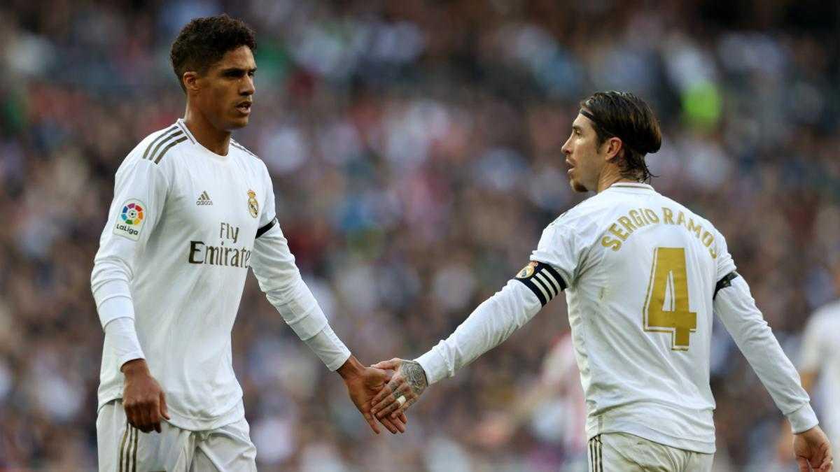 Real Madrid center-backs Raphael Varane and Sergio Ramos.