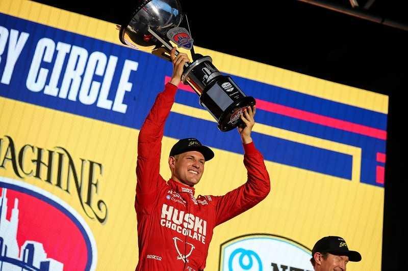 Marcus Ericsson celebrates his win at the Music City GP