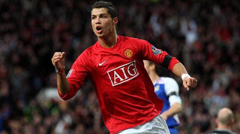 Cristiano Ronaldo celebrates scoring a goal for Manchester United.