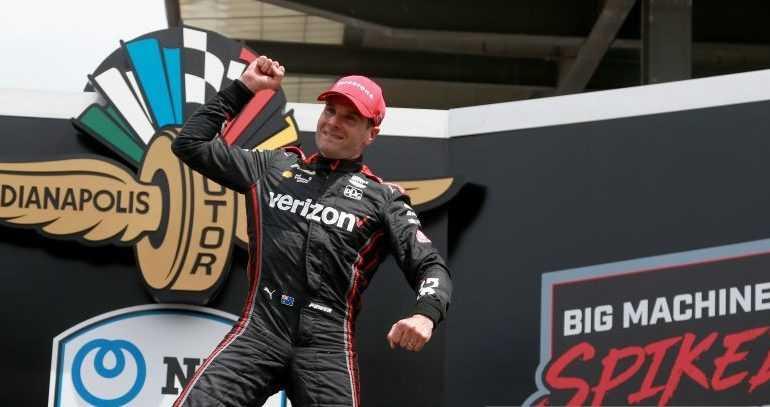 Will Power celebrates winning at the Brickyard