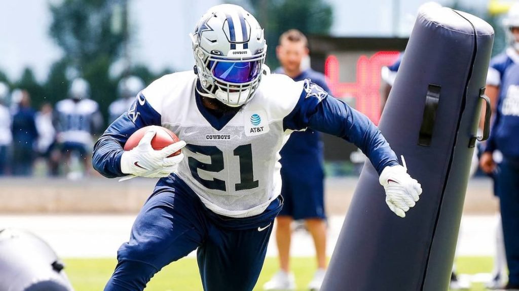 """Dallas Cowboys running back Ezekiel Elliot doing individual drills during training camp. """"pictured here"""""""
