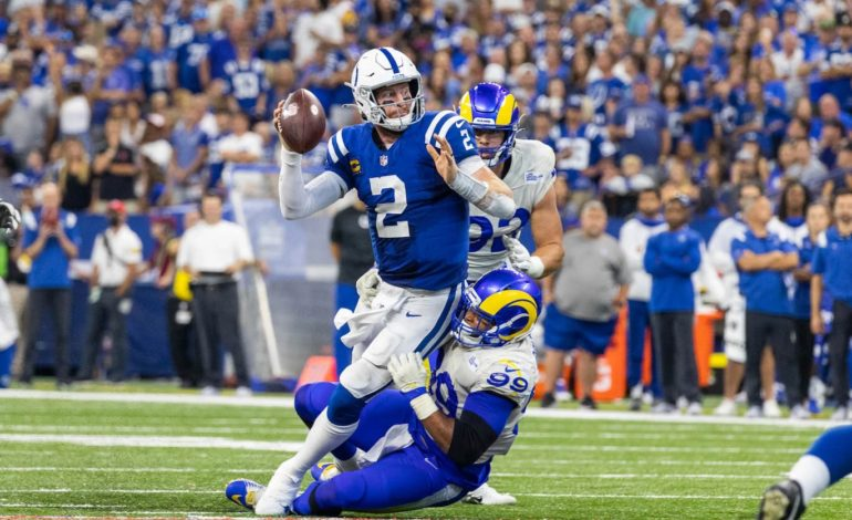 """Indianapolis Colts quarterback Carson Wentz's ankle injury was just one of the many quarterbacks all around the league who got hurt this week. """"pictured here"""""""