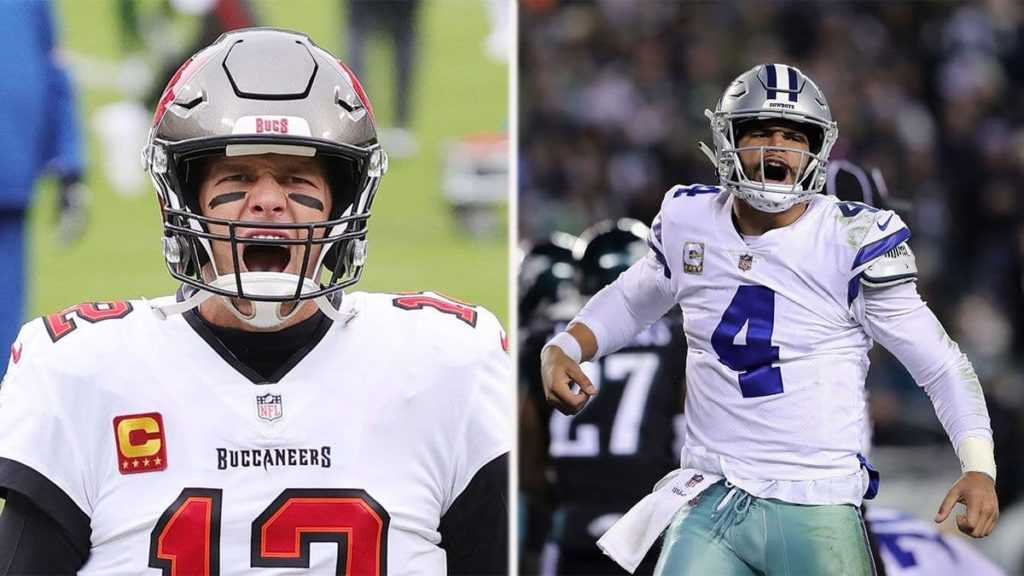 """A preview of Tom Brady and the Buccaneers versus Dak Prescott and the Dallas Cowboys for the season opener played on Thursday night """"pictured here"""""""