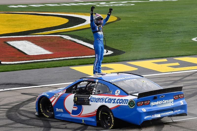 Kyle Larson won his first race in Hendrick at Vegas earlier this year.